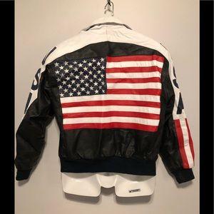 Michael Hoban American Flag leather moto jacket